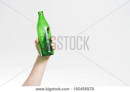 Hand Holda Bottle White Background, Alcohol