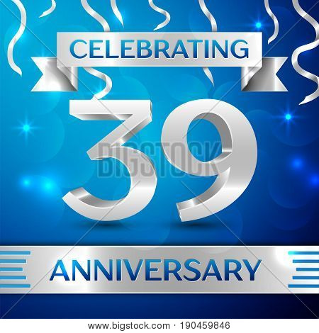 Thirty nine Years Anniversary Celebration Design. Confetti and silver ribbon on blue background. Colorful Vector template elements for your birthday party. Anniversary ribbon