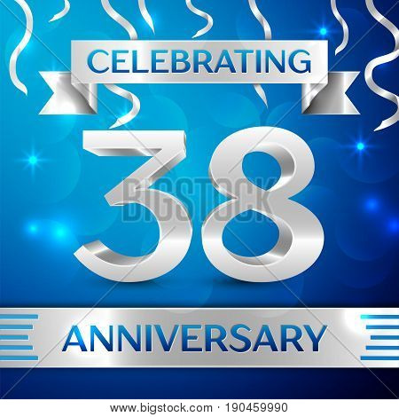 Thirty eight Years Anniversary Celebration Design. Confetti and silver ribbon on blue background. Colorful Vector template elements for your birthday party. Anniversary ribbon