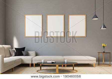 Three medium size vertical posters are hanging on gray living room walls with sofas surrounding an oval coffee table. 3d rendering mock up