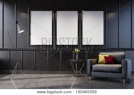 Gray living room interior with a poster gallery on the wall. There is a gray armchair with cushions in the corner and a coffee table with a flower vase. 3d rendering mock up