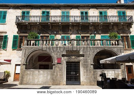 Palace of Pima family in old town Kotor Montenegro