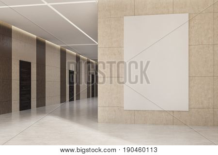 Office or hotel lobby interior with dark brown wooden doors and beige walls with a vertical poster hanging on one of them. 3d rendering mock up