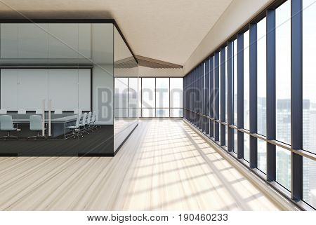 Meeting room interior with white and glass walls wooden floor and a row of folders standing on a shelf. Square table with white office chairs. Whiteboard. Side. 3d rendering mock up