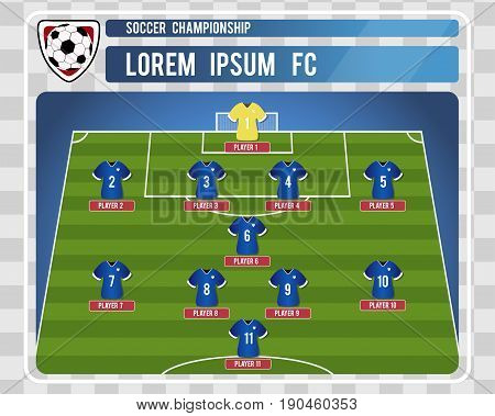 Football or soccer starting lineup with editable arrangement of players. Vector illustration