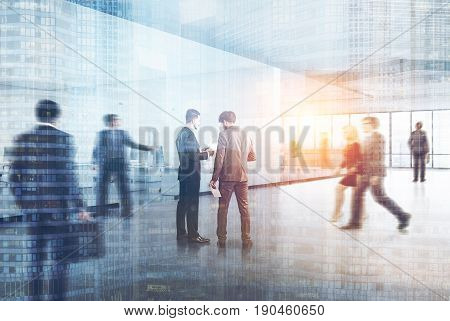 People in a modern office interior with white and transparent walls panoramic windows. A row of white tables with computers along the wall. Side. 3d rendering mock up double exposure toned image