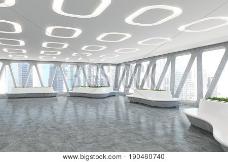 Spaceship style office interior with oval ceiling lamps concrete floor and panoramic windows with triangular frames. There are original flower beds with fresh grass. Front view. 3d rendering mock up