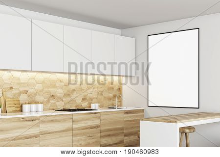 Luxury kitchen interior with white and wooden walls countertops with built in appliances a bar table and a row of stools. Framed vertical poster on the wall. Side. 3d rendering mock up