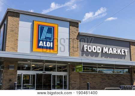 Indianapolis - Circa June 2017: Aldi Discount Supermarket. Aldi sells a range of grocery items including produce meat & dairy at discount prices