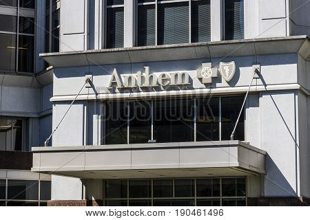 Indianapolis - Circa June 2017: Anthem World Headquarters. Anthem is pulling out of Ohio's Obamacare individual insurance marketplace for 2018