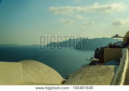 Sunset with the greek sea as landscape (top of the sunsets). SANTORINI- OIA - GREECE