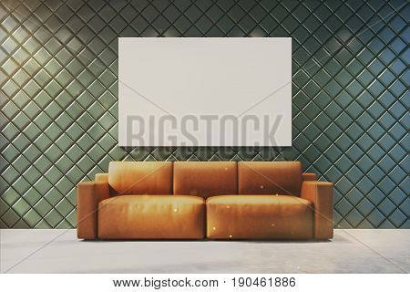 Gray living room interior with a large horizontal poster on the wall. There is a brown couch in a center of the room. 3d rendering mock up toned image