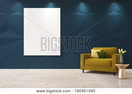 Blue living room interior with a vertical poster on the wall. There is a yellow armchair with cushions in the corner and a coffee table with a flower vase. 3d rendering mock up