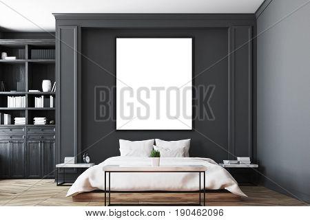 Black Bedroom Interior, Poster Close Up