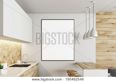 White And Wooden Kitchen, Poster