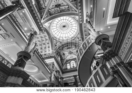 Las Vegas - Circa December 2016: Interior of The Forum Shops at Caesars. The Forum Shops is a major shopping mall connected to Caesars Palace
