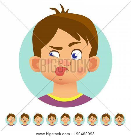 Set of human emotions. Facial expression. Set of emoticons. Flat vector illustration. Stuck out tongue