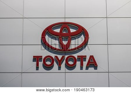 Indianapolis - Circa June 2017: Toyota Car and SUV Logo and Signage. Toyota is a Japanese Automaker Headquartered in Toyota Aichi Japan