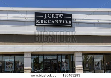 Indianapolis - Circa June 2017: J.Crew Retail Strip Mall Location. Same-store sales have been down at JCrew for the past three years prompting changes in leadership