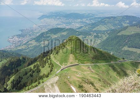 Elevated capture of the Swiss Alps at Rocher de Naye near Montreux with Lake Leman (Lake Geneva) in the background