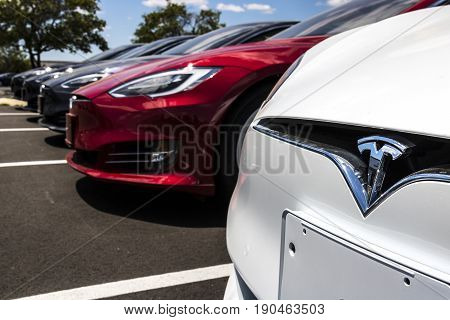 Indianapolis - Circa June 2017: Tesla Motors Local Car Dealership. Tesla designs and manufactures the Model S electric sedan III