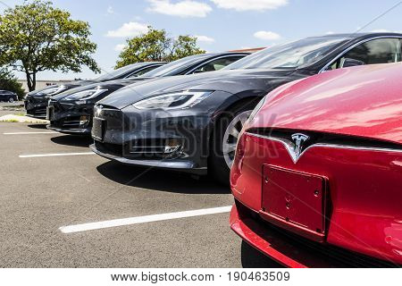 Indianapolis - Circa June 2017: Tesla Motors Local Car Dealership. Tesla designs and manufactures the Model S electric sedan II