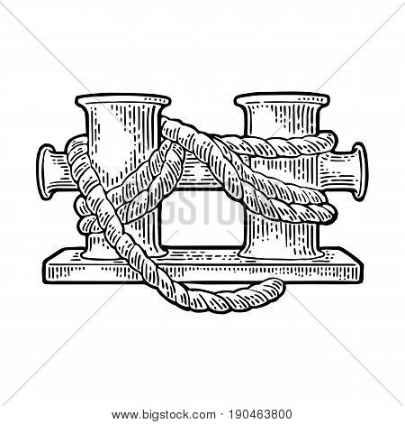Double mooring bollard for ship. Vector black vintage engraving illustration for tattoo, web and label. Hand drawn in a graphic style. Isolated on white background.