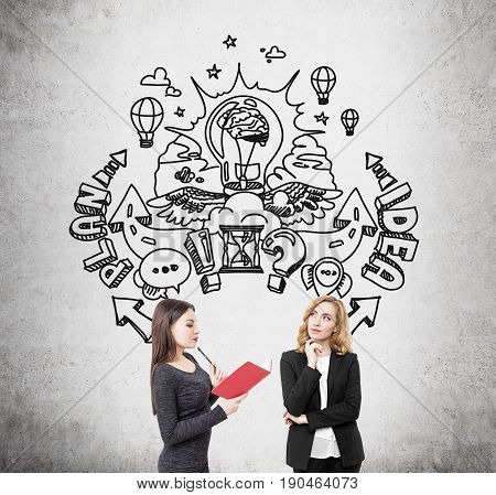 Portrait of two businesswomen. One is wearing a dress and reading a book. The second is screaming with joy. They are standing near a blackboard with a round idea sketch