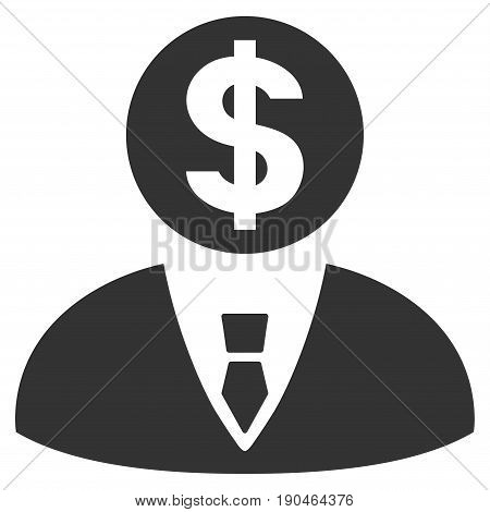 Banker vector icon. Flat gray symbol. Pictogram is isolated on a white background. Designed for web and software interfaces.