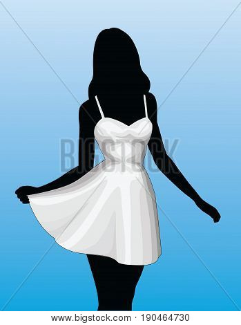 Girl In Sun Dress is an illustration of a silhouette of an beautiful woman or girl in a white sun dress on a sky blue fading background.