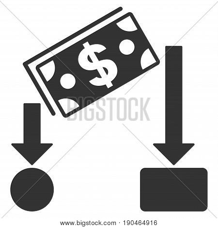 Cash Flow vector icon. Flat gray symbol. Pictogram is isolated on a white background. Designed for web and software interfaces.