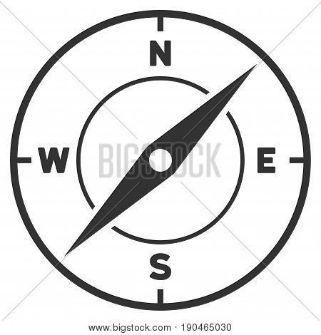 Compass vector icon. Flat gray symbol. Pictogram is isolated on a white background. Designed for web and software interfaces.
