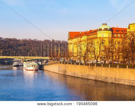 Hitorical building of Faculty of Law on Dvorak's Embankment at Vltava River. Part of Charles University in Prague, Czech Republic, Europe.