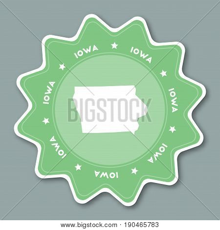 Iowa Map Sticker In Trendy Colors. Travel Sticker With Us State Name And Map. Can Be Used As Logo, B