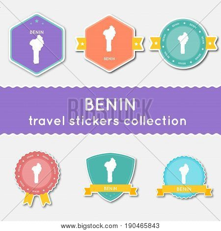 Benin Travel Stickers Collection. Big Set Of Stickers With Country Map And Name. Flat Material Style