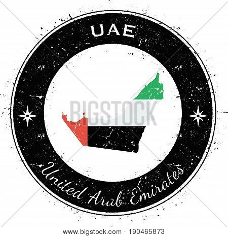 United Arab Emirates Circular Patriotic Badge. Grunge Rubber Stamp With National Flag, Map And The U