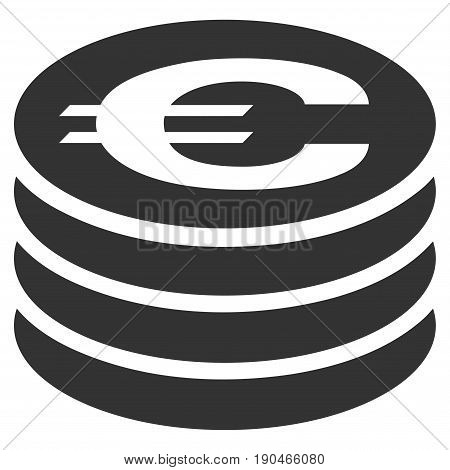 Euro Coin Column vector icon. Flat gray symbol. Pictogram is isolated on a white background. Designed for web and software interfaces.