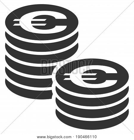 Euro Coin Columns vector icon. Flat gray symbol. Pictogram is isolated on a white background. Designed for web and software interfaces.