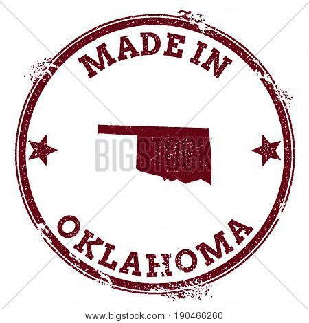 Oklahoma Vector Seal. Vintage Usa State Map Stamp. Grunge Rubber Stamp With Made In Oklahoma Text An