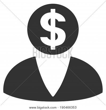 Financier vector icon. Flat gray symbol. Pictogram is isolated on a white background. Designed for web and software interfaces.