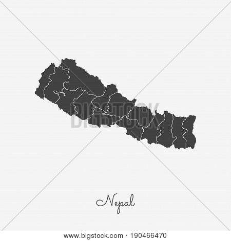 Nepal Region Map: Grey Outline On White Background. Detailed Map Of Nepal Regions. Vector Illustrati