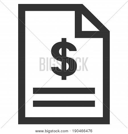 Invoice Page vector icon. Flat gray symbol. Pictogram is isolated on a white background. Designed for web and software interfaces.