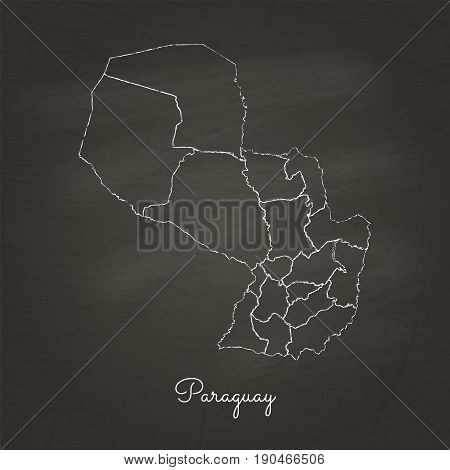 Paraguay Region Map: Hand Drawn With White Chalk On School Blackboard Texture. Detailed Map Of Parag