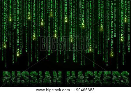 Background in a matrix style with falling cyrillic symbols and inscription Russian Hackers. Concept of Encrypted Computer Code. Vector Illustration.
