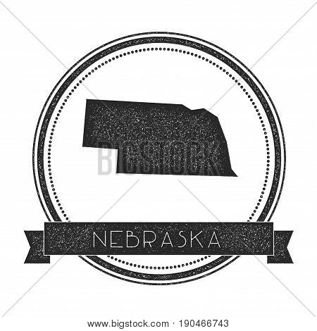Nebraska Vector Map Stamp. Retro Distressed Insignia With Us State Map. Hipster Round Rubber Stamp W