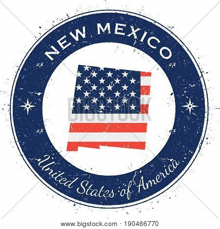 New Mexico Circular Patriotic Badge. Grunge Rubber Stamp With Usa State Flag, Map And The New Mexico