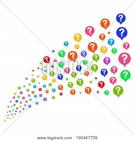Fountain of help balloon symbols. Vector illustration style is flat bright multicolored iconic help balloon symbols on a white background. Object fountain organized from icons.