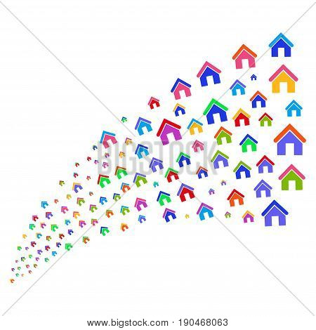 Stream of home icons. Vector illustration style is flat bright multicolored iconic home symbols on a white background. Object fountain made from pictograms.
