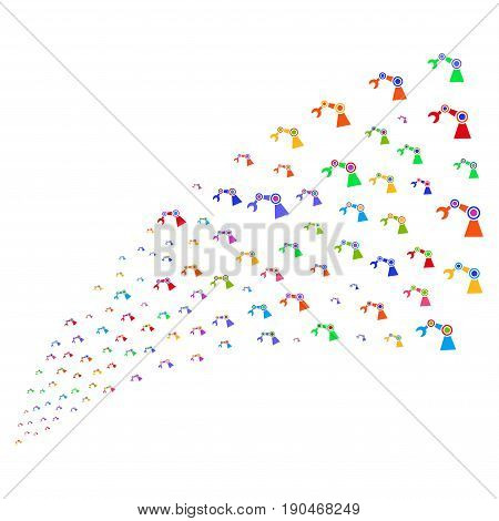 Source stream of industrial robot icons. Vector illustration style is flat bright multicolored iconic industrial robot symbols on a white background. Object fountain created from symbols.