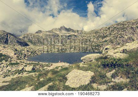 Glacier mountain lake in Brenta Dolomites. Gelato and Serodoli lakes above Madonna di Campiglio, Italy.